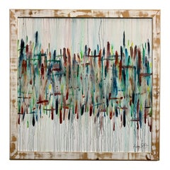 Modernist Drip Painting on Masonite with Rustic Frame