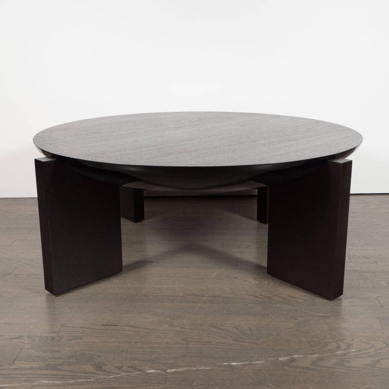 American Modernist Ebonized Walnut Cocktail Table with Square Legs For Sale