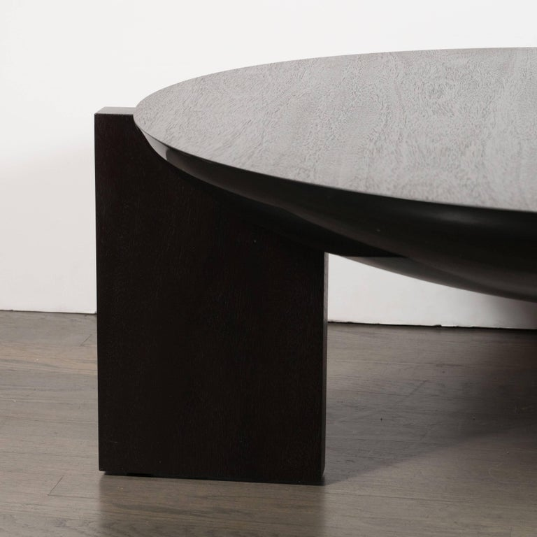 Modernist Ebonized Walnut Cocktail Table with Square Legs In Excellent Condition For Sale In New York, NY