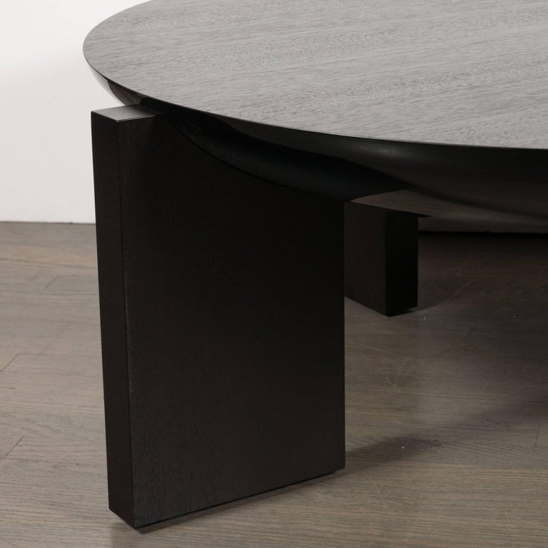 20th Century Modernist Ebonized Walnut Cocktail Table with Square Legs For Sale
