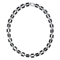Modernist Ebony and White Gold Necklace