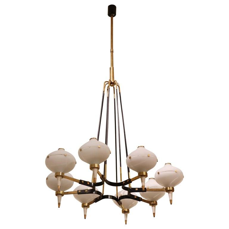 Modernist Eight-Light Chandelier For Sale