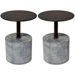 Modernist End Table, Honed Verde Alpi Marble Base with Patined Steel Top