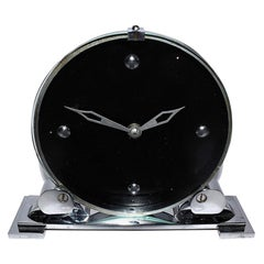 Modernist English Art Deco Chrome Clock