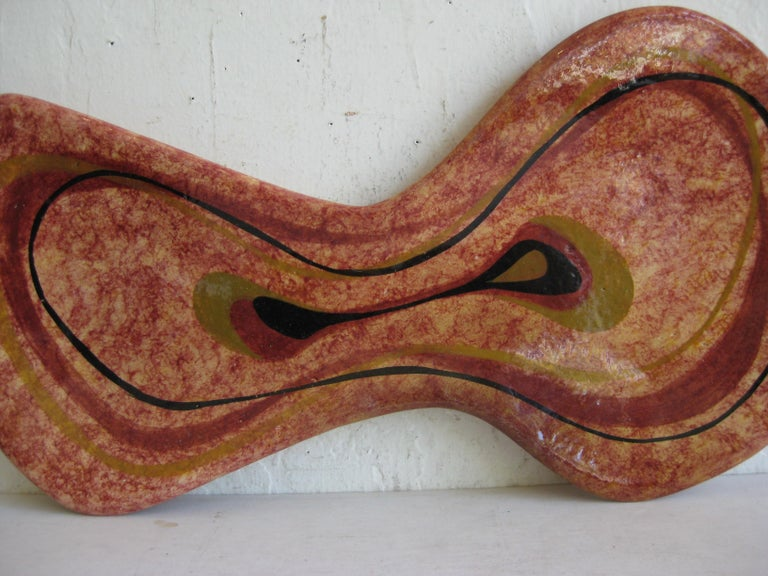 Modernist Erwin Kalla Studio Pottery Ceramics Amoeba Abstract Large Bowl Dish In Excellent Condition For Sale In San Diego, CA