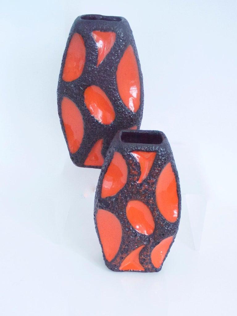 German Modernist Fat Lava Ceramic Lozenge 309 Vase, 1970s Dorothea Roth For Sale