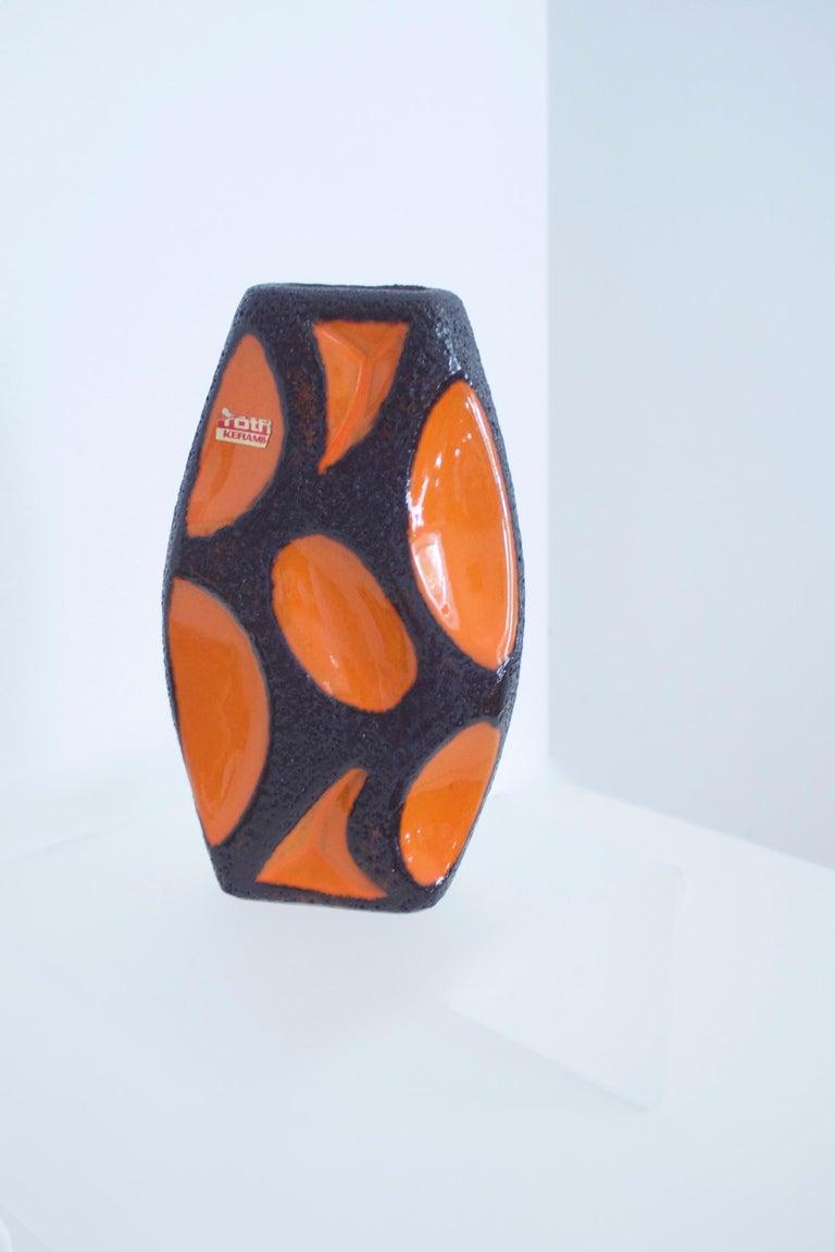 Modernist Fat Lava Ceramic Lozenge 309 Vase, 1970s Dorothea Roth In Excellent Condition For Sale In Halstead, GB