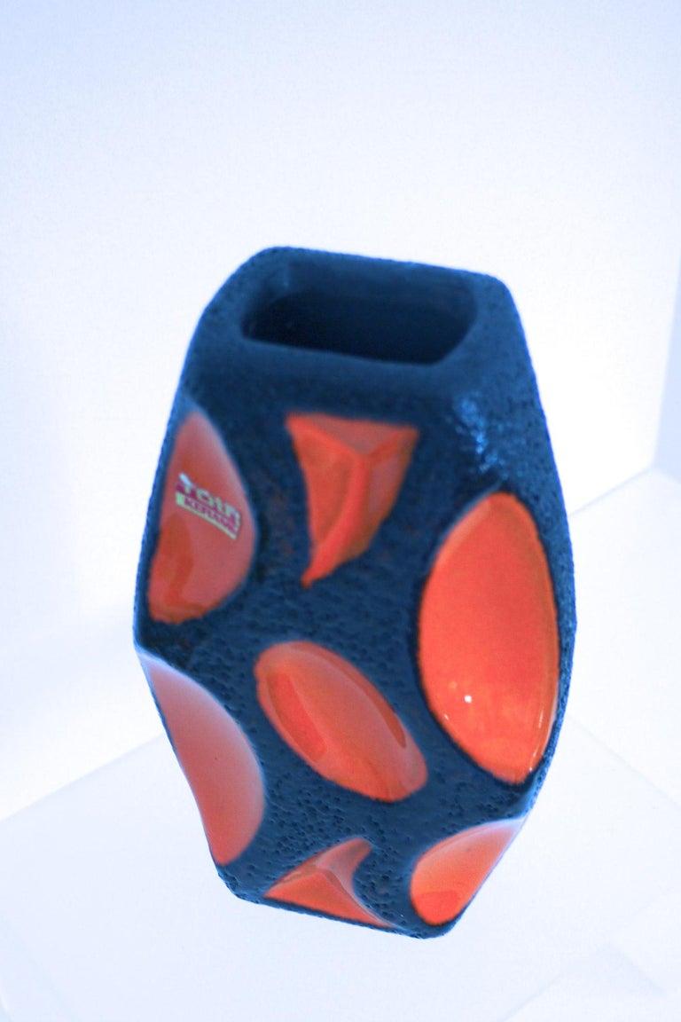 Late 20th Century Modernist Fat Lava Ceramic Lozenge 309 Vase, 1970s Dorothea Roth For Sale