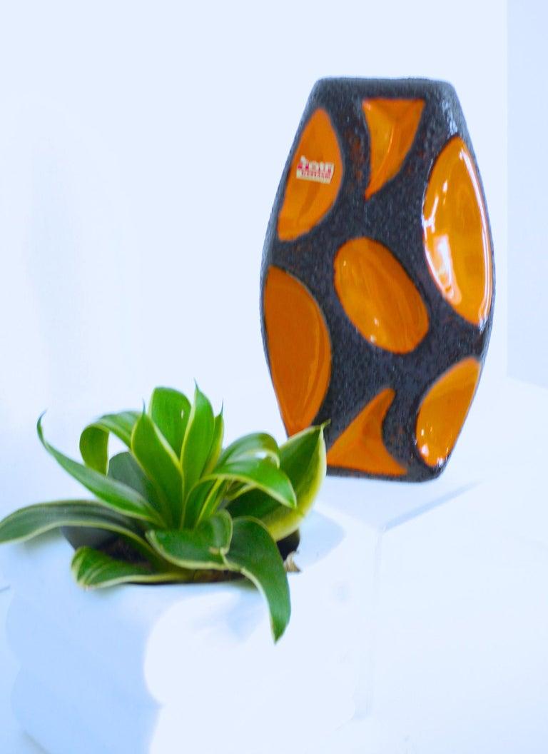 Modernist Fat Lava Ceramic Lozenge 309 Vase, 1970s Dorothea Roth For Sale 2