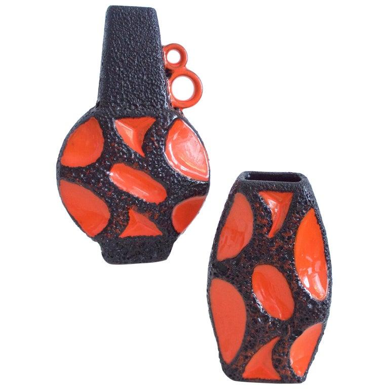 Modernist Fat Lava Ceramic Vases by Roth Banjo 313 and Lozenge 309 Vases, 1970s For Sale