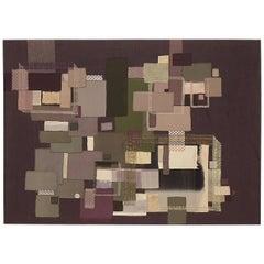 Modernist Fiber Art Collage Panel by Jane Apple Chapman, circa 1970s