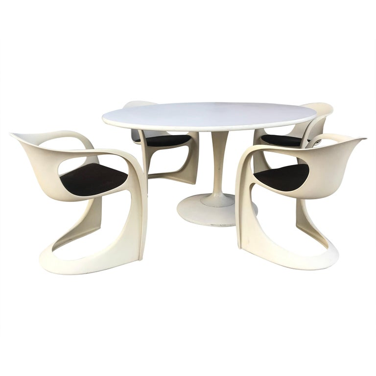 "Modernist Fiberglass Space Age Dining Set ""Casalino"" by Alexander Begge For Sale"