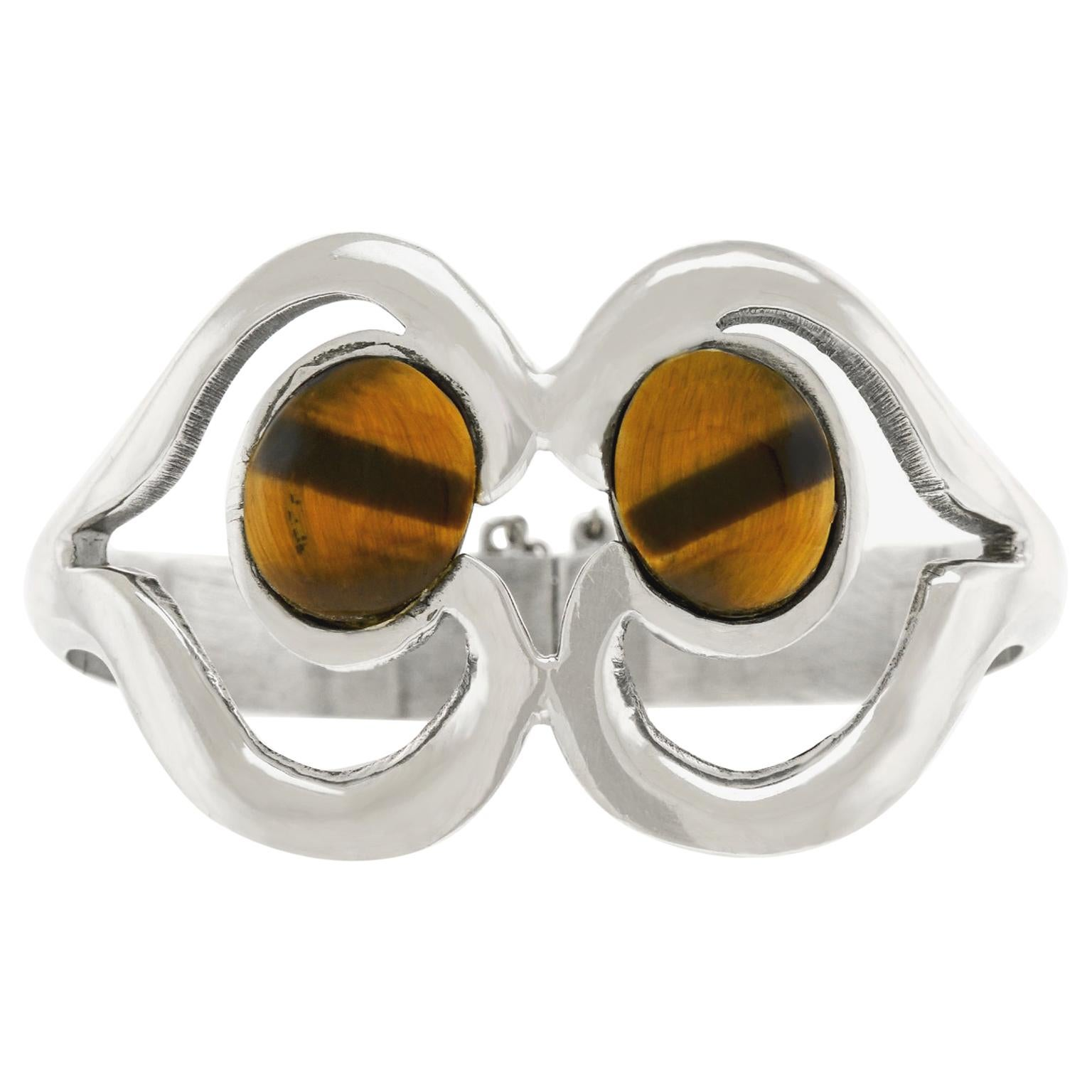 Modernist 1950s Sterling Cuff Bracelet Mexico