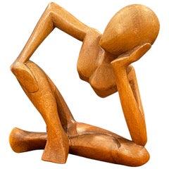 Modernist Figural Nude Sculpture in Walnut