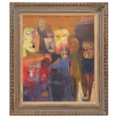 Modernist Figurative Group Painting, Signed Assante, circa 1960s