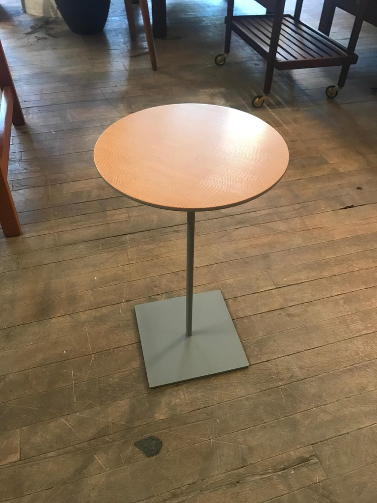 American Modernist Fir Topped Cocktail Table with Grey Stem Base For Sale