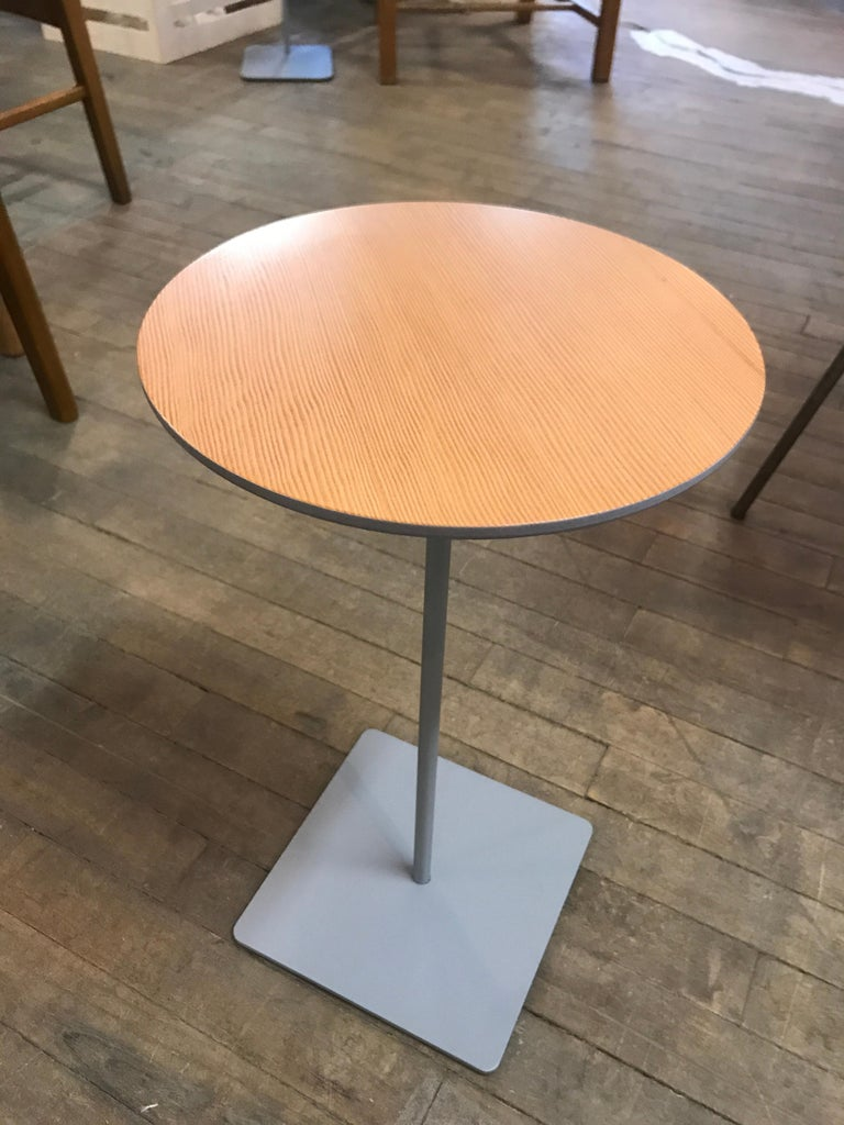 Lacquered Modernist Fir Topped Cocktail Table with Grey Stem Base For Sale