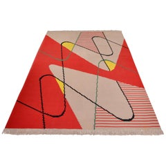 Modernist Flat-Woven Kilim Rug Attributed to Antonín Kybal, Prague, circa 1950