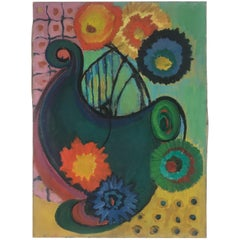 Modernist, Folk Art Oil on Canvas by Anita Kahn, circa 1950s