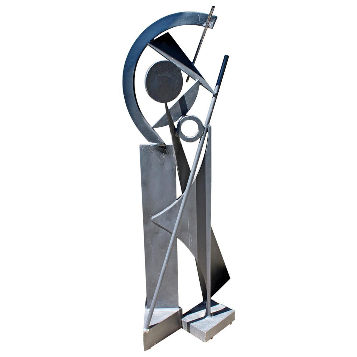 Modernist Forged Black Metal Abstract Floor Sculpture Robert Hansen Calder Style