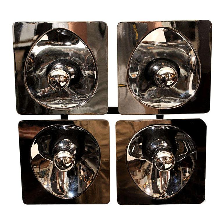 Modernist Four-Way Chrome Sconce & Wall Sculpture by Sciolari