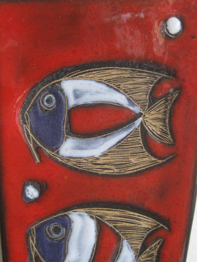 20th Century Modernist Franco Rufinelli Italian Art Pottery Abstract Fish Plaque Sculpture For Sale