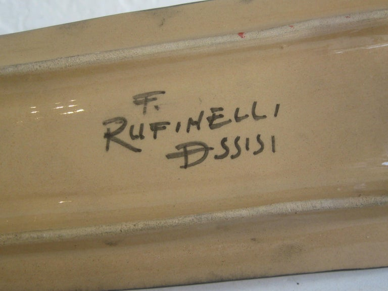 Modernist Franco Rufinelli Italian Art Pottery Abstract Fish Plaque Sculpture For Sale 5