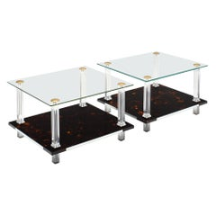 Modernist French Altuglass and Lucite Side Tables