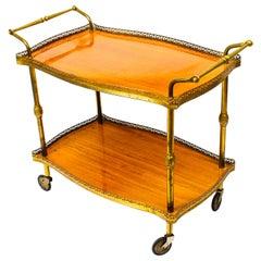 Modernist French Gilt Brass Hostess Trolley Dry Bar Midcentury
