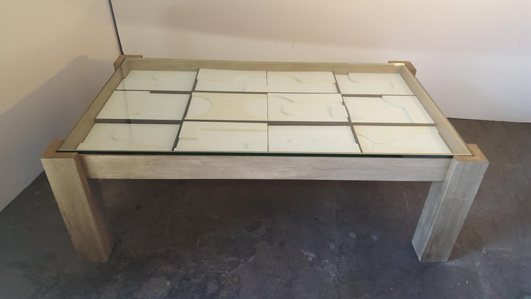 American Modernist Frieze Cocktail Table by Paul Marra For Sale