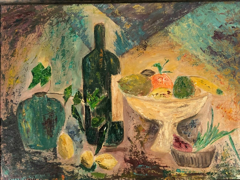 Modernist Yellow, Blue, Green, Orange Fruit Still Life Painting, circa 1959 For Sale 2