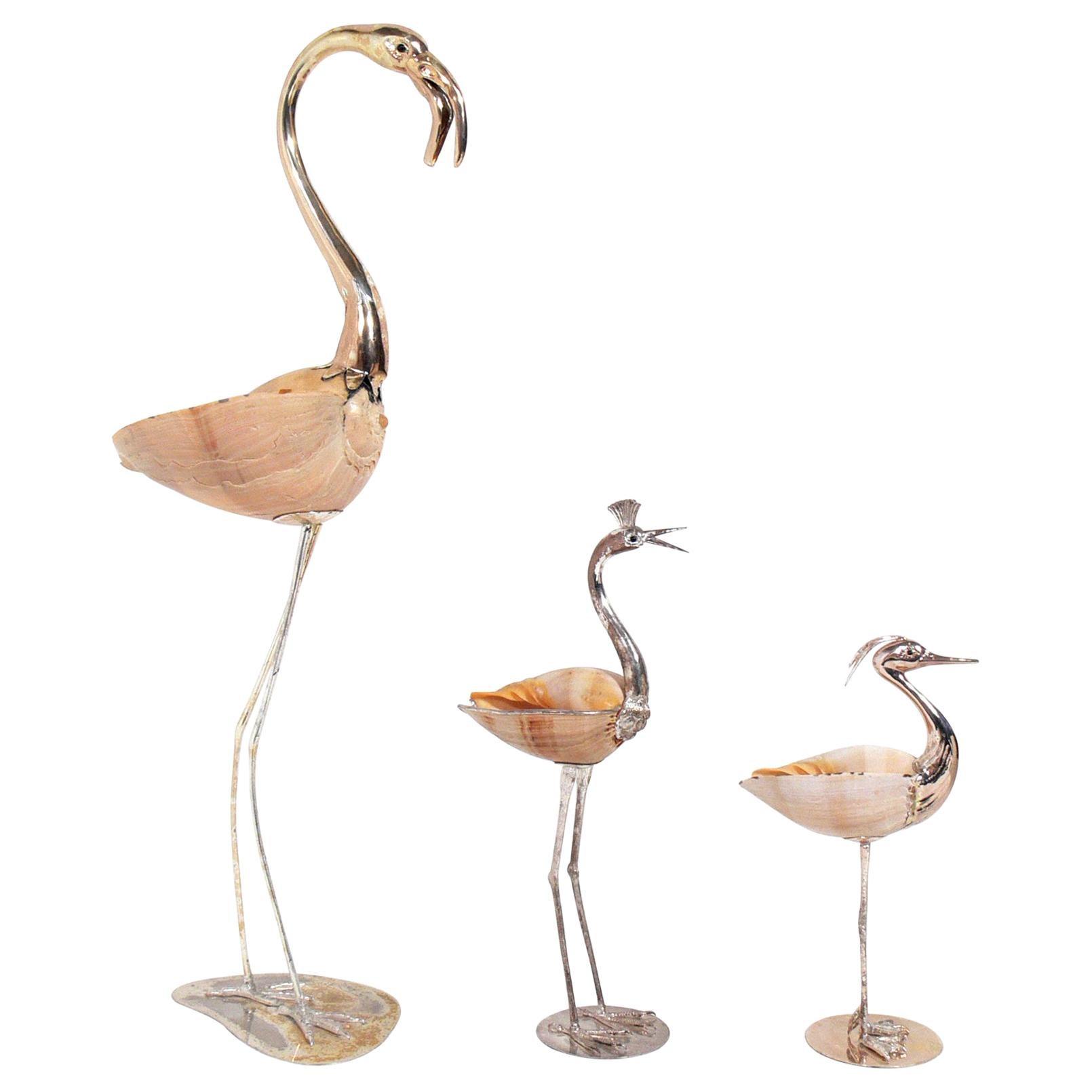Modernist Gabriella Binazzi Silver and Shell Bird Sculptures