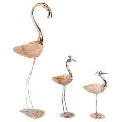 Modernist Gabriella Binazzi Silver and Shell Bird Sculptures