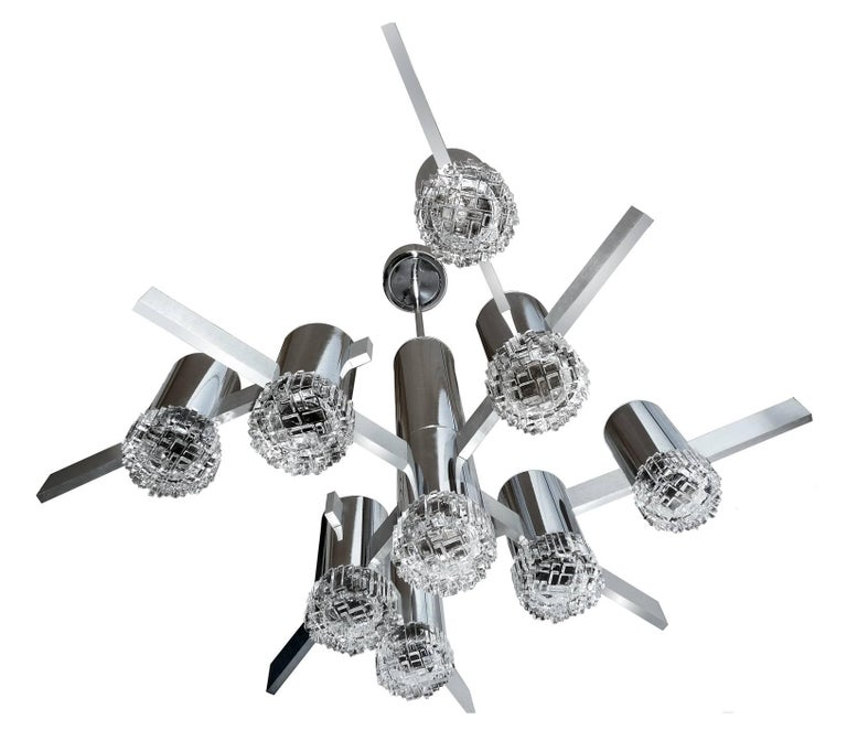Mid-Century Modern Modernist Gaetano Sciolari Sculptural Chandelier with Nine Lights For Sale