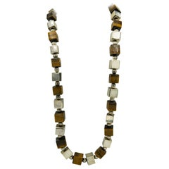 Modernist Geometric Circle Square Cube and Tiger's Eye Sterling Silver Necklace