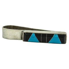 Modernist Geometric Onyx Turquoise Sterling Silver Money Clip Mexican