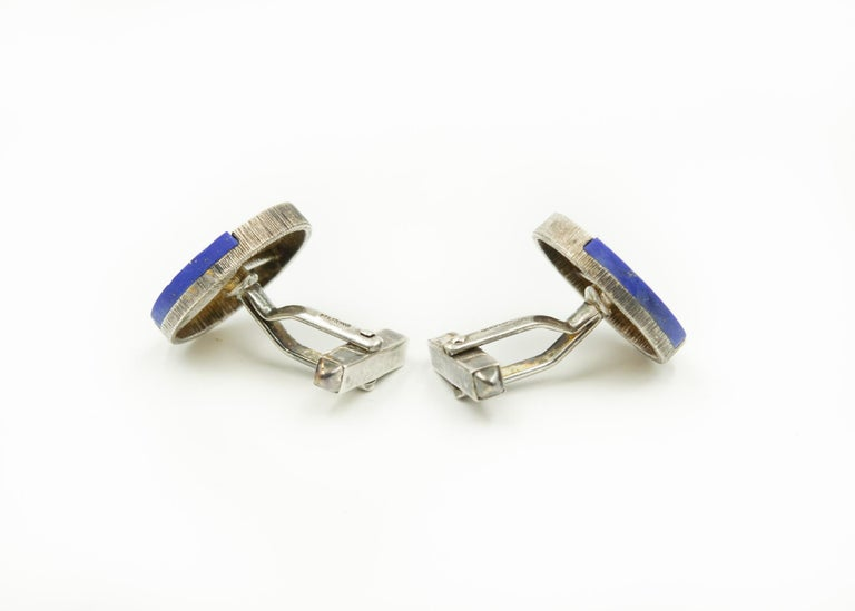 Modernist German Lapis Lazuli Sterling Silver Round Cufflinks In Good Condition For Sale In Miami Beach, FL