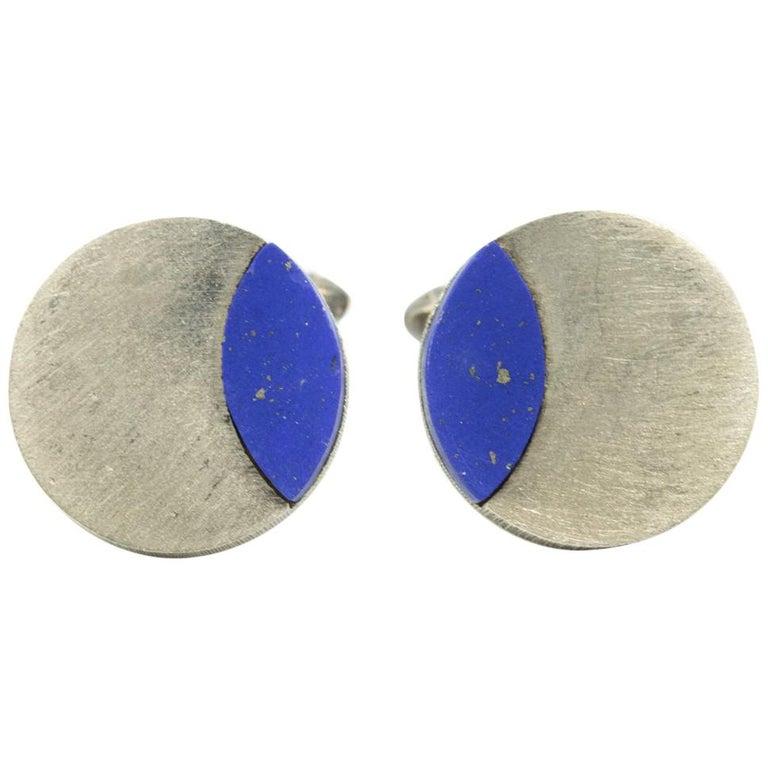 Modernist German Lapis Lazuli Sterling Silver Round Cufflinks For Sale