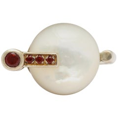 Modernist German Mother of Pearl and Garnet Silver Ring