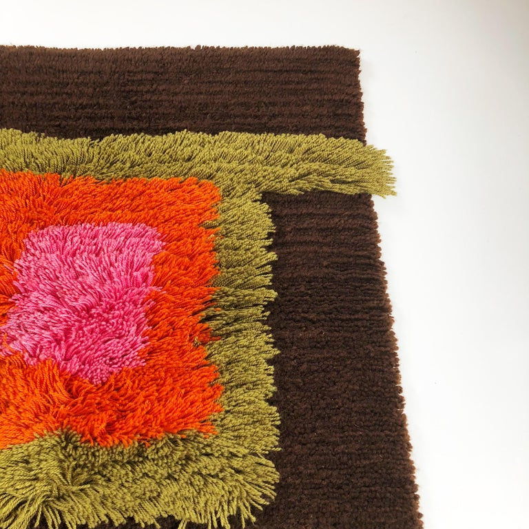 Modernist German Wall Rug by Cromwell Tefzet, Design by S. Doege, Germany, 1970s For Sale 4