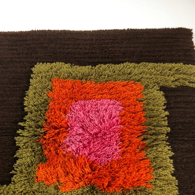 Modernist German Wall Rug by Cromwell Tefzet, Design by S. Doege, Germany, 1970s For Sale 5