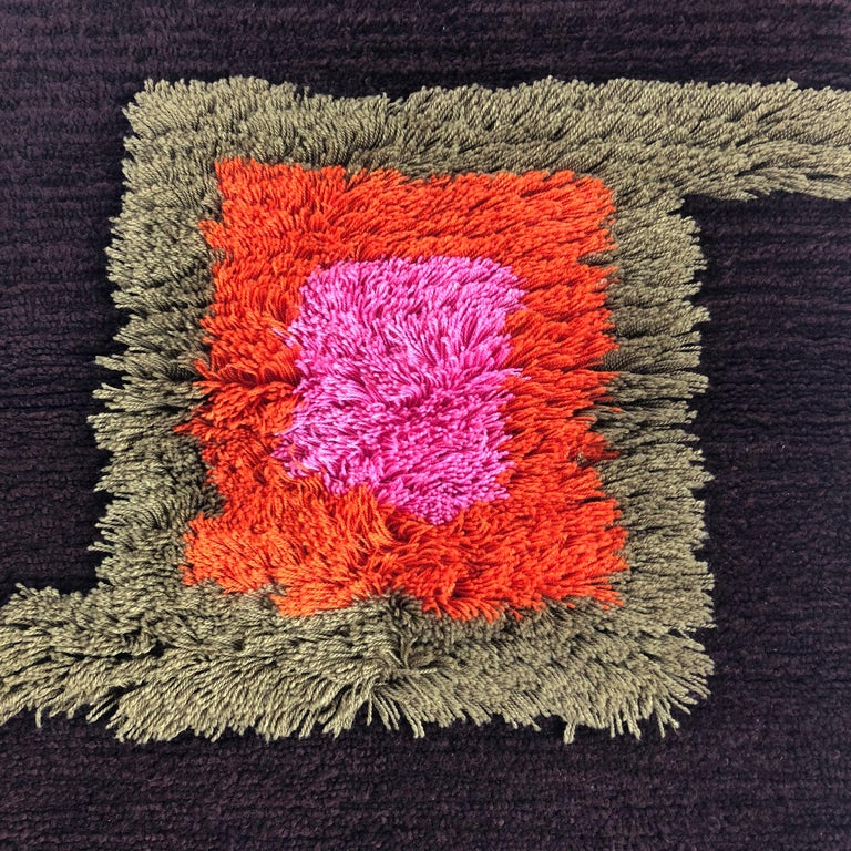 Modernist German Wall Rug by Cromwell Tefzet, Design by S. Doege, Germany, 1970s For Sale 6