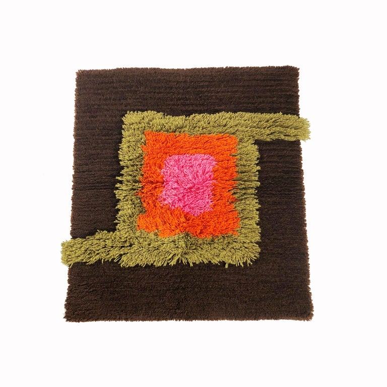 Modernist German Wall Rug by Cromwell Tefzet, Design by S. Doege, Germany, 1970s For Sale 7
