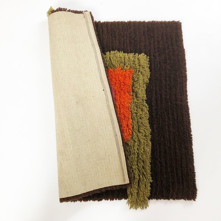 Modernist German Wall Rug by Cromwell Tefzet, Design by S. Doege, Germany, 1970s For Sale 8