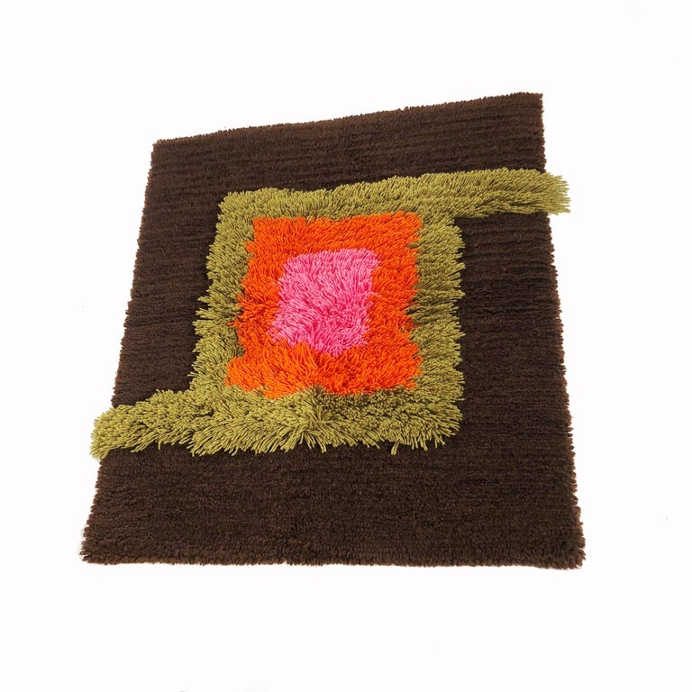 Mid-Century Modern Modernist German Wall Rug by Cromwell Tefzet, Design by S. Doege, Germany, 1970s For Sale