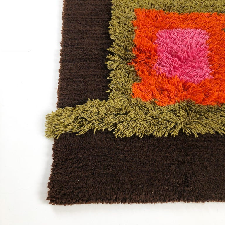 Wool Modernist German Wall Rug by Cromwell Tefzet, Design by S. Doege, Germany, 1970s For Sale