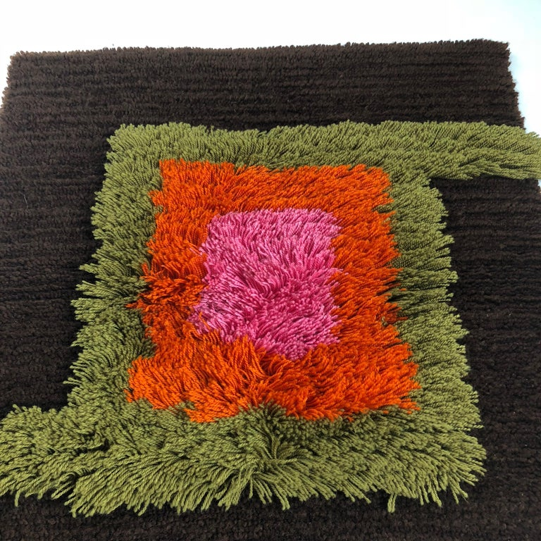 Modernist German Wall Rug by Cromwell Tefzet, Design by S. Doege, Germany, 1970s For Sale 2