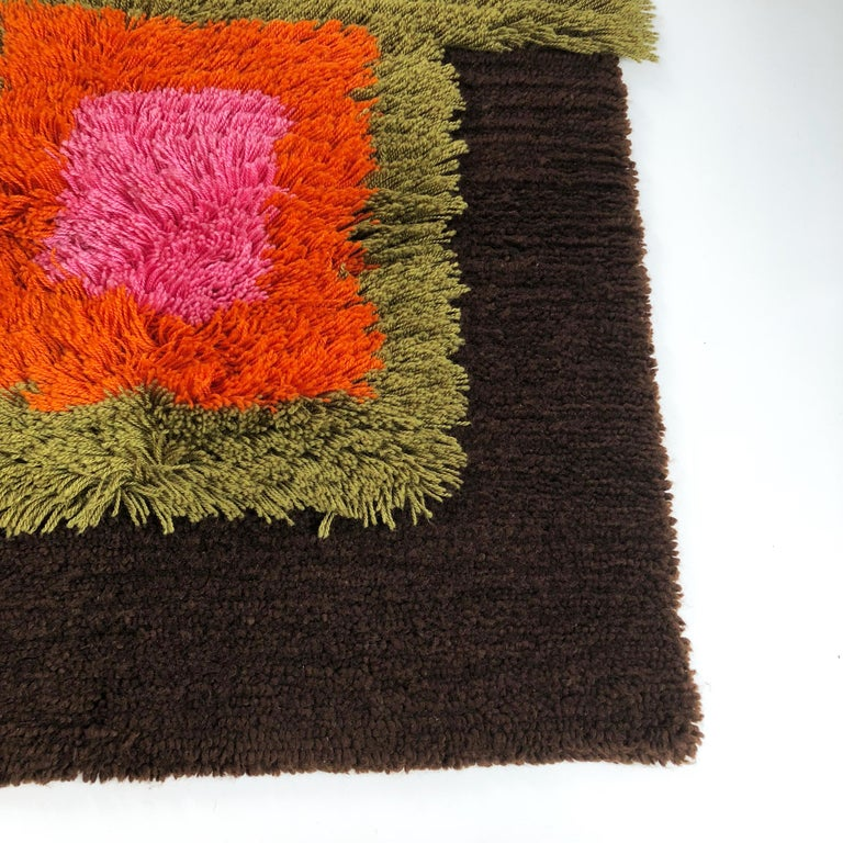 Modernist German Wall Rug by Cromwell Tefzet, Design by S. Doege, Germany, 1970s For Sale 3