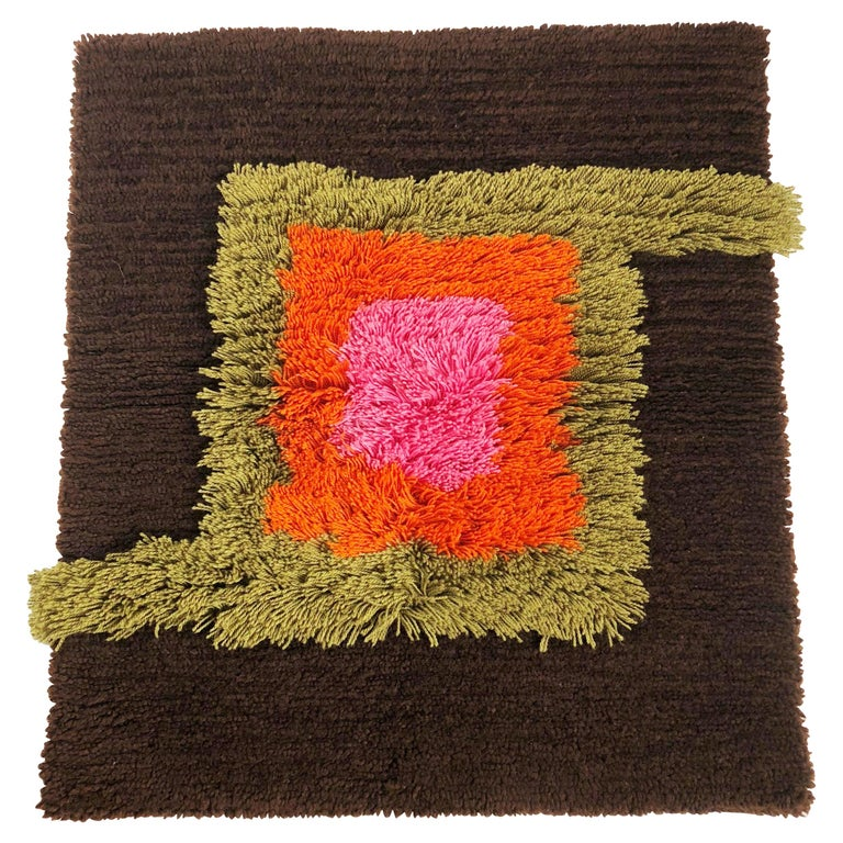 Modernist German Wall Rug by Cromwell Tefzet, Design by S. Doege, Germany, 1970s For Sale