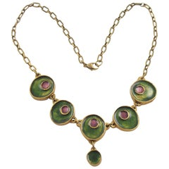 Modernist Gilded Bronze Choker Necklace Green and Purple Enamel